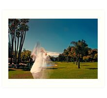 "Abeautiful ""ghost"" bride, in outdoors setting Art Print"