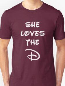 She loves the D (Disney inspired) Dark Bridesmaid shirt T-Shirt