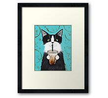 Tuxedo Cat with Iced Coffee Framed Print