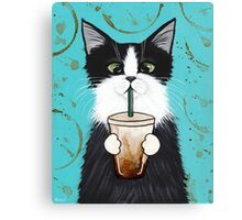 Tuxedo Cat with Iced Coffee Canvas Print