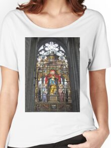 Stained glass window, St Nicholas's Church, Ghent, Belgium Women's Relaxed Fit T-Shirt
