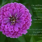 Purple Zinnia Flower with Marilyn Monroe quote by PhotoCrazy6