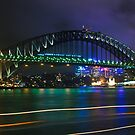 Sydney Harbour Bridge glowing at night by makatoosh