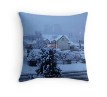 Eight Towers pub in the snow Throw Pillow