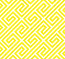 Yellow Greek Keys Geometric Pattern by ImageNugget