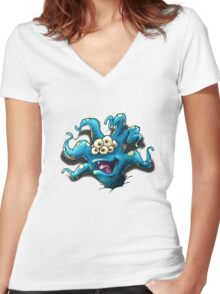 Happy Tentacle head chest burster Women's Fitted V-Neck T-Shirt