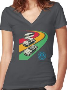 vintage vw Women's Fitted V-Neck T-Shirt