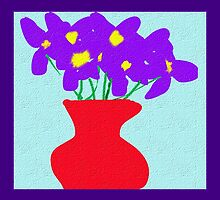 violets in a vase textured pattened and framed by YodaWars