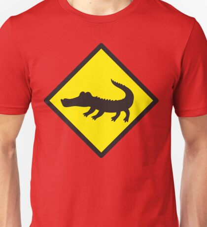 Crocodile YELLOW WARNING sign Alligator Unisex T-Shirt