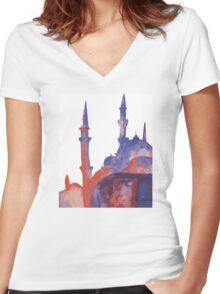 Minarets  Women's Fitted V-Neck T-Shirt