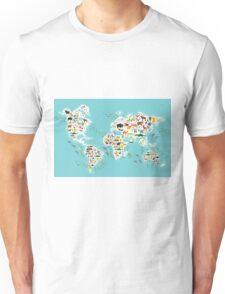 Cartoon animal world map for children Unisex T-Shirt