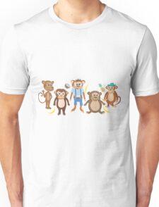 Funny Smiling Monkeys Unisex T-Shirt
