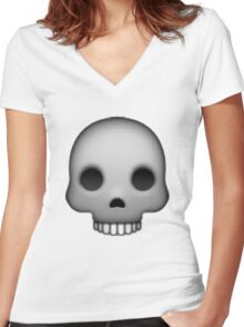 Skull Emoji Women's Fitted V-Neck T-Shirt