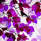 Blackbird in Magenta Tree by marlene veronique holdsworth