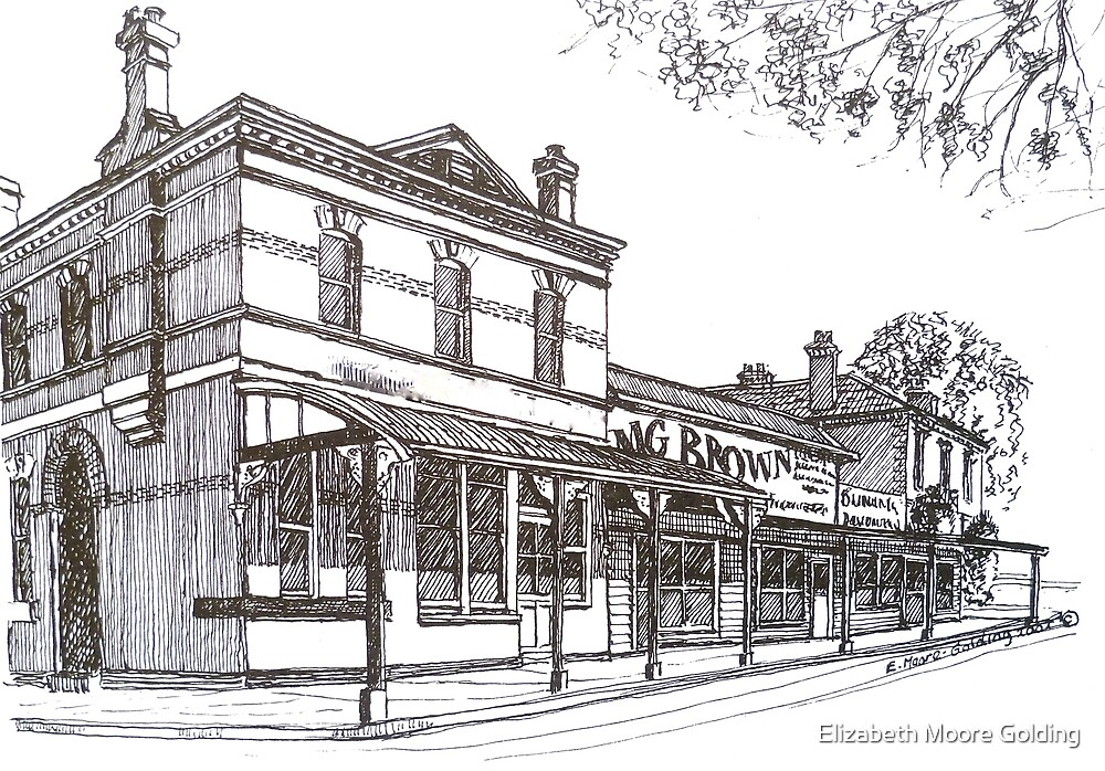 Buninyong: former Whykes Butchers, John Adam's store, National Bank building. by Elizabeth Moore Golding