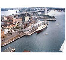 Circular Quay (West), The Rocks  & Royal Yacht Britannia, Sydney 1963 Poster