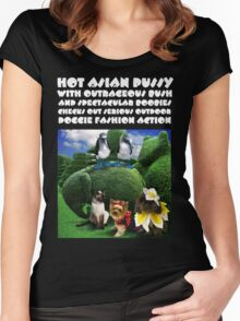 HOT ASIAN PUSSY WITH OUTRAGEOUS BUSH AND SPECTACULAR BOOBIES CHECKS OUT SERIOUS OUTDOOR DOGGIE FASHION ACTION Women's Fitted Scoop T-Shirt