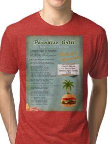 Cheeseburger in Paradise Jimmy Buffet Tribute Menu  Tri-blend T-Shirt