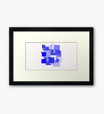Full Blue Squares Framed Print