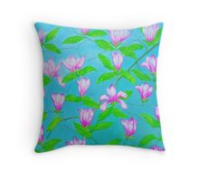 Painted Pink Blossoms Throw Pillow
