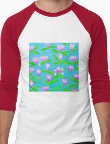 Painted Pink Blossoms Men's Baseball ¾ T-Shirt