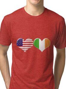USA and Irish Heart Flags Tri-blend T-Shirt