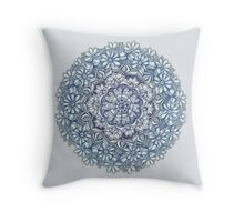 Indigo Medallion with Butterflies & Daisy Chains Throw Pillow