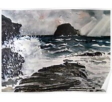 """Storm Over Gull Rock"" - Trebarwith Strand Poster"