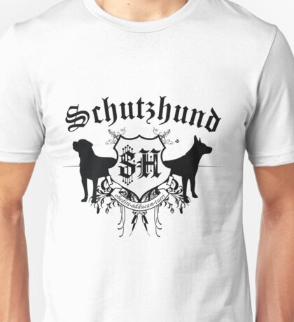 Schutzhund mit Rottweiler und GSD Unisex T-Shirt