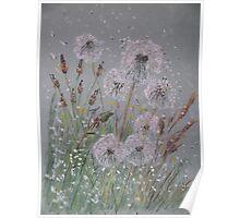 """Time Flies"" - Dandelion Clocks Poster"