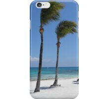 Tropical Swaying Palm Trees on White Sand Beach Scene iPhone Case/Skin