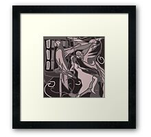 Woman and Parrot Birds Abstract Framed Print