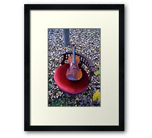 violino su sedia di velluto rosso © 2010 patricia vannucci  Framed Print