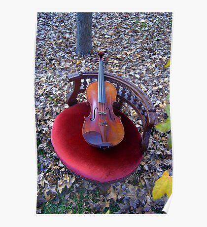violino su sedia di velluto rosso © 2010 patricia vannucci  Poster