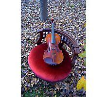 violino su sedia di velluto rosso © 2010 patricia vannucci  Photographic Print
