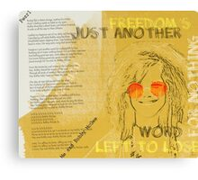 Janis Joplin Song Lyrics Bobby McGee Canvas Print