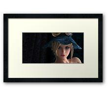 Steampunk girl wearing a blue hat Framed Print