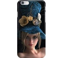 Steampunk girl wearing a blue hat iPhone Case/Skin