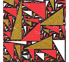 Red black gold faux glitter triangles pattern Photographic Print