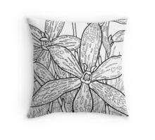 Australian Flower Series - Queen of Sheba Orchid B&W Throw Pillow