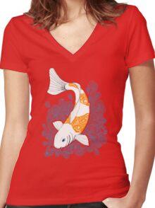 Fish carp Koi - Orange Women's Fitted V-Neck T-Shirt
