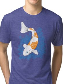 Fish carp Koi - Orange Tri-blend T-Shirt