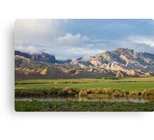 Split Mountain & Green Field Canvas Print