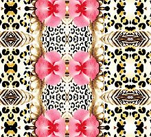 Girly pink black white abstract animal print  by Maria Fernandes