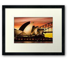 Sydney Icons Sunset Framed Print