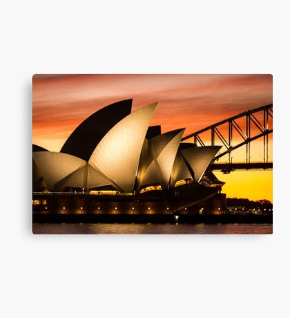 Sydney Icons Sunset Canvas Print
