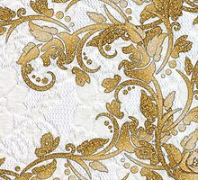 Chic white french lace gold faux glitter floral  by Maria Fernandes