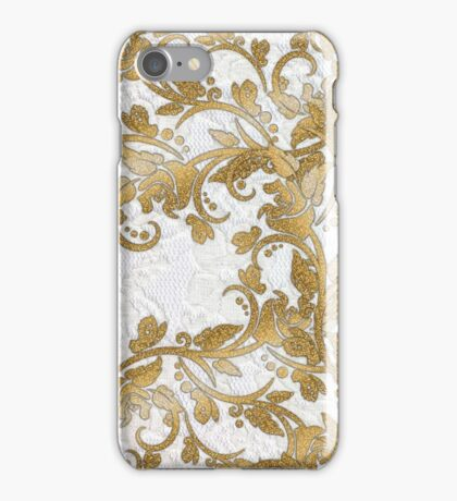 Chic white french lace gold faux glitter floral  iPhone Case/Skin