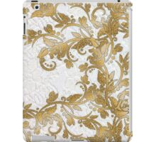 Chic white french lace gold faux glitter floral  iPad Case/Skin