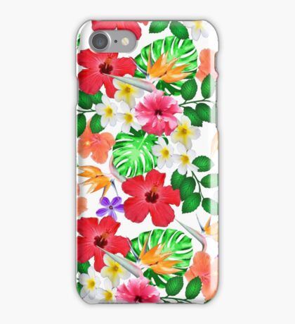 Tropical red yellow bird of paradise flowers  iPhone Case/Skin